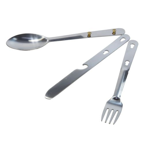 STEEL CAMPING CUTLERY SET SILVER